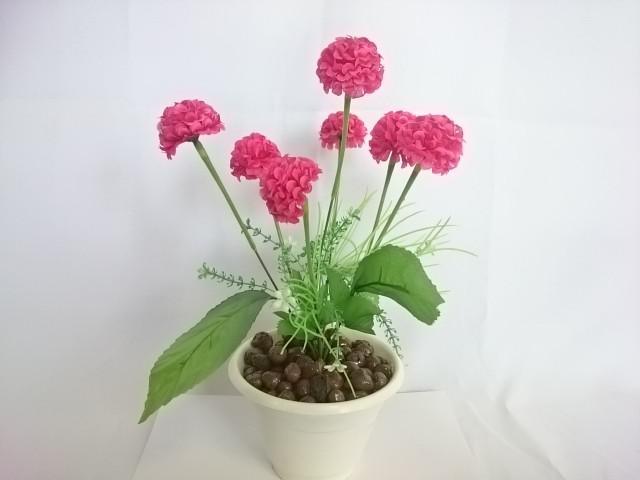 """Искусственный цветок в горшке """"Бархотки"""" 30 см, 7 голов, ткань, пластик, металл. Цвет БУКЕТА - малиновый. Цвет горшка - белый, либо коричневый."""