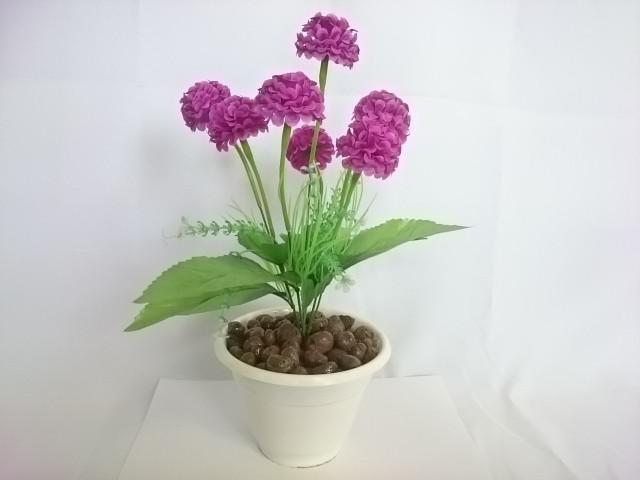 """Искусственный цветок в горшке """"Бархотки"""" 30 см, 7 голов, ткань, пластик, металл. Цвет БУКЕТА - фиолетовый. Цвет горшка - белый, либо коричневый."""