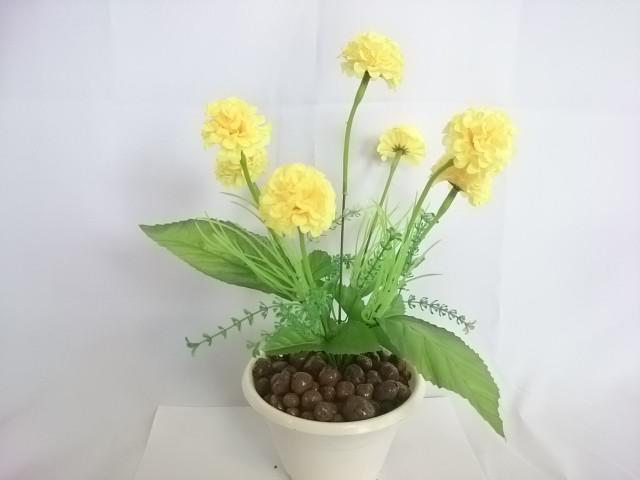 """Искусственный цветок в горшке """"Бархотки"""" 30 см, 7 голов, ткань, пластик, металл. Цвет БУКЕТА - жёлтый. Цвет горшка - белый, либо коричневый."""