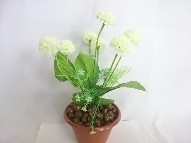 """Искусственный цветок в горшке """"Бархотки"""" 30 см, 7 голов, ткань, пластик, металл. Цвет БУКЕТА - белый. Цвет горшка - белый, либо коричневый."""