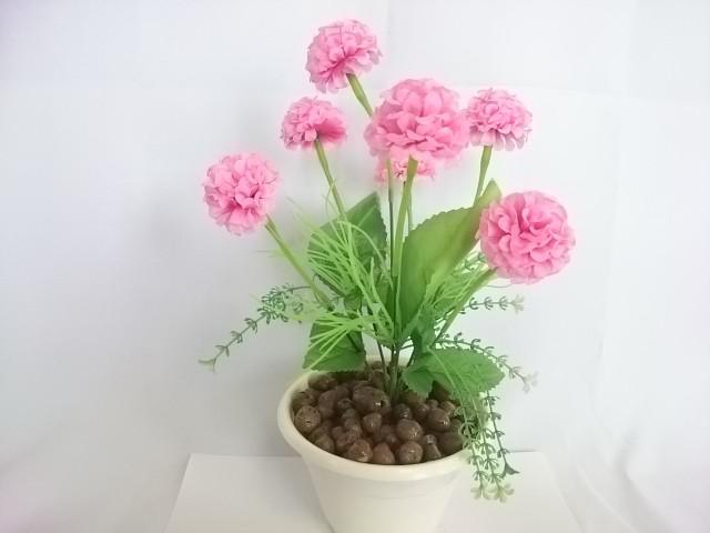 """Искусственный цветок в горшке """"Бархотки"""" 30 см, 7 голов, ткань, пластик, металл. Цвет БУКЕТА - розовый. Цвет горшка - белый, либо коричневый."""