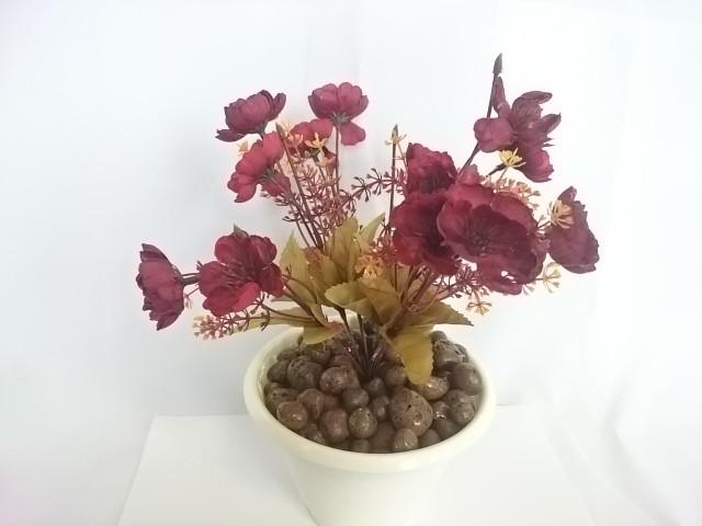 """Искусственный цветок в горшке """"Анютины глазки"""", 25 см, 7 веток в букете, ткань, пластик, металл. Цвет БУКЕТА -тёмно-красный. Цвет горшка - белый, либо коричневый."""
