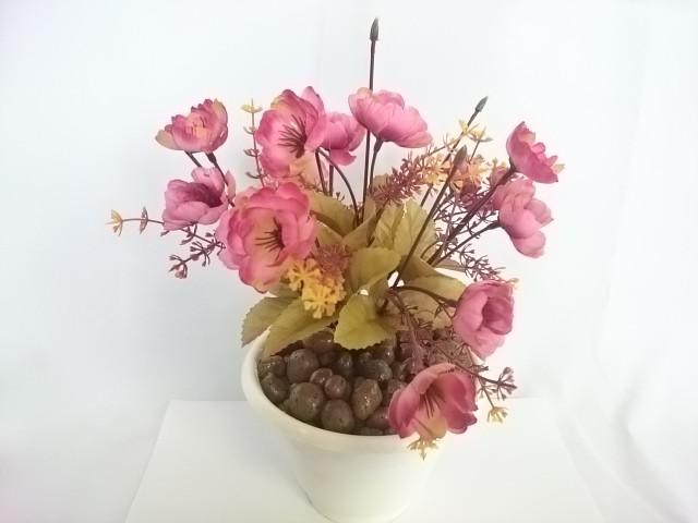 """Искусственный цветок в горшке """"Анютины глазки"""", 25 см, 7 веток в букете, ткань, пластик, металл. Цвет БУКЕТА -розовый. Цвет горшка - белый, либо коричневый."""
