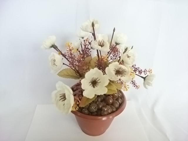 """Искусственный цветок в горшке """"Анютины глазки"""", 25 см, 7 веток в букете, ткань, пластик, металл. Цвет БУКЕТА -белый. Цвет горшка - белый или коричневый."""
