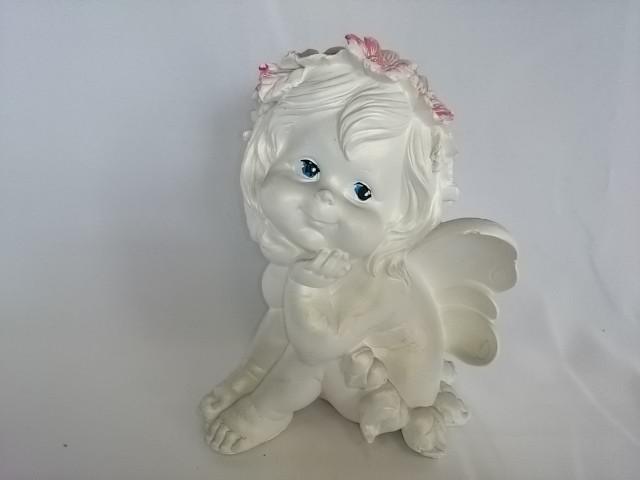 Сувенир Фея сидя белая, 18 см, гипс.