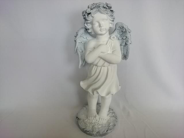 Сувенир Ангел с венком античный, 50 см, гипс.