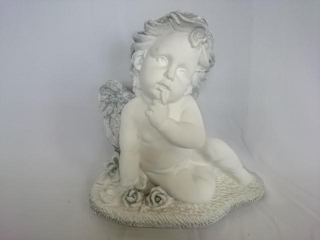 Сувенир Ангел на траве античный, 26 х 25 см, гипс.