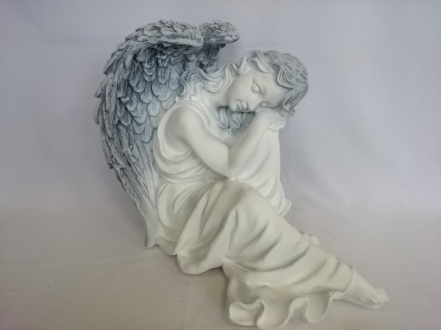 """Сувенир """"Ангел на отдыхе"""" античный, 37 х 28 см, гипс."""