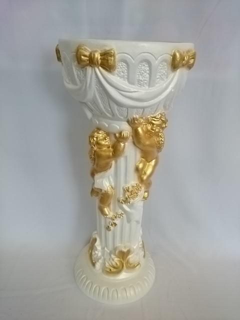 """Кашпо """"Колонна с ангелами"""", 68 см, гипс."""