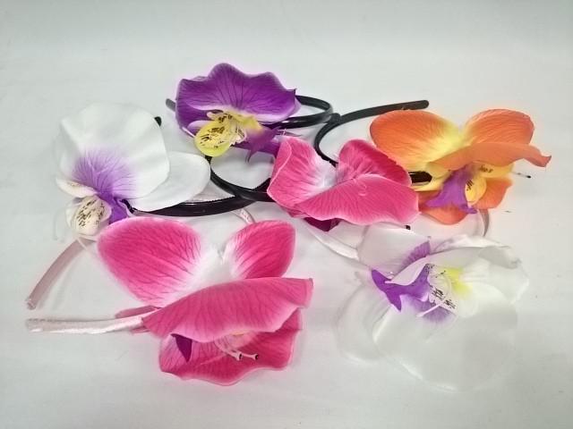 Ободок для волос с орхидеей в ассортименте, пластик, ткань, 1 штука.