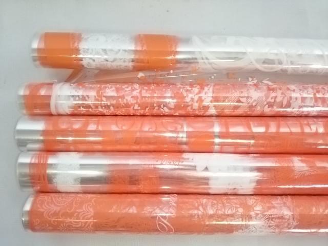 Плёнка прозрачная 70 см в рулоне с двухцветным рисунком оранжевая в ассортименте.