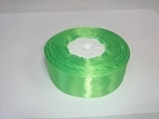 Лента атласная 2,5 см * 25 ярдов, зелёная.