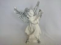 Сувенир Ангел с фонарём античный 37 см, гипс.