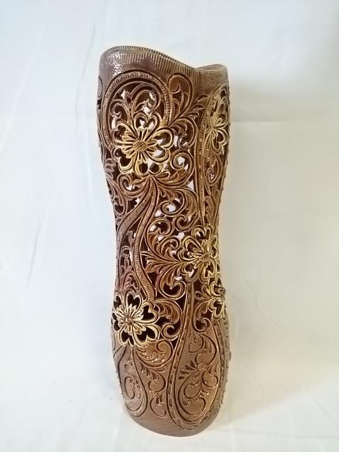 """Ваза большая """"Лиана"""" коричневая резка, 44 см, керамика."""