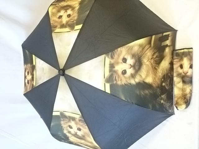 """Зонт женский полный автомат """"Кошки"""", 8 спиц, 3 сложения."""