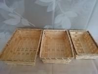 Набор прямоугольных бамбуковых плетеных корзин 3 шт: 22х7х7, 21х16х6, 19х13х6 см.