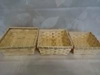 Набор квадратных бамбуковых плетеных корзин 3 шт: 18*18х8, 17х17х7, 14х14х6 см.