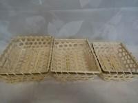 Набор бамбуковых прямоугольных плетеных корзин 3 шт: 22х18х8, 21х16х7, 18х14х6 см