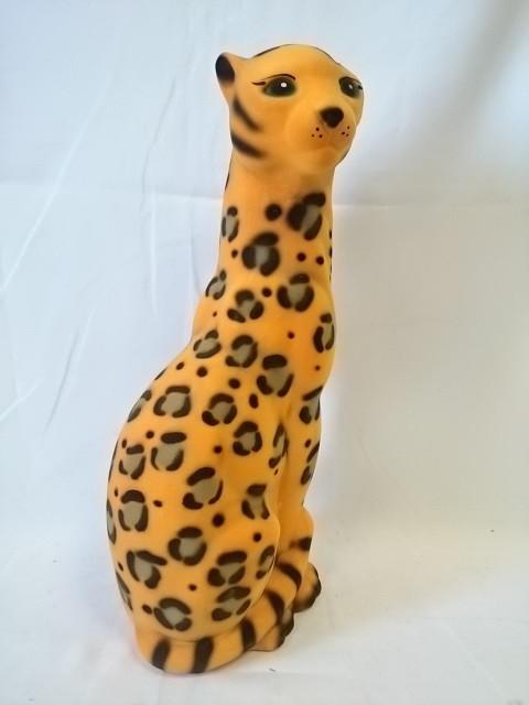 "Копилка Пантера ""рыжий леопард"", 50 см, керамика, флок."