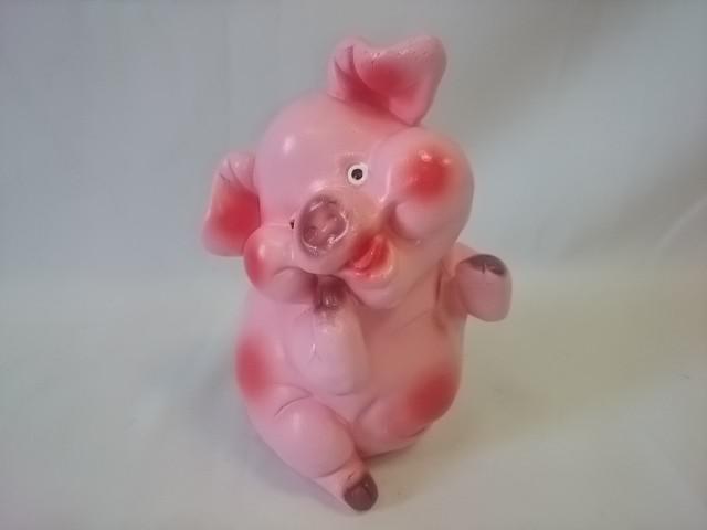 """Копилка """"Свинья сидит"""", 18 см, гипс."""