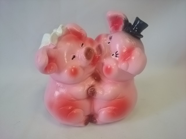 """Копилка """"Две свинки - Жених и Невеста"""", 13 см, гипс."""