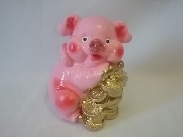 """Копилка """"Свинья с деньгами"""" розовая 14 см."""