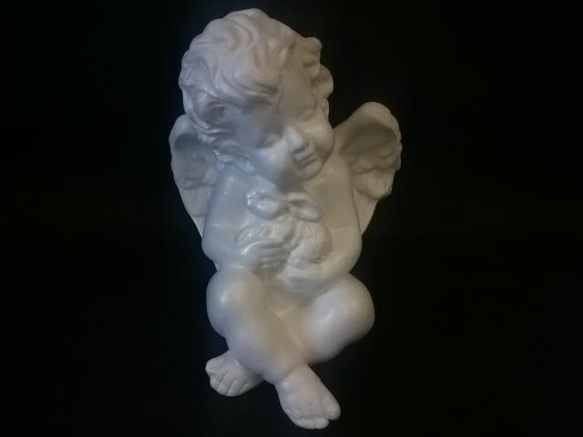 Сувенир Ангел с кроликом, 17 см, гипс.