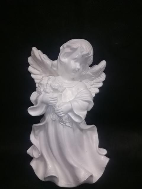 """Сувенир """"Ангел в платье с букетом"""", 24 см, гипс."""