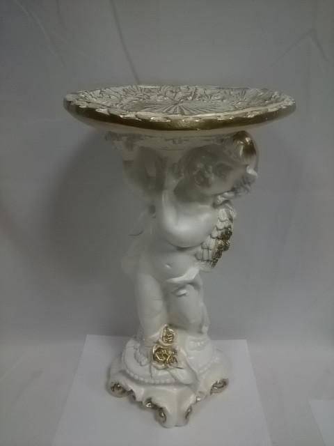 Ангел с чашей, 60 см,  гипс, цвет - белый с золотом.