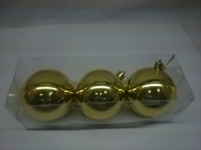 Новогодние шары, 7 см, цена за 3 штуки, золотые, пластик.