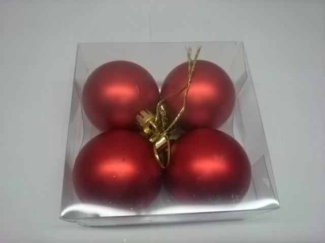 Новогодние шары, 5 см, цена за 4 штуки, красные, пластик.