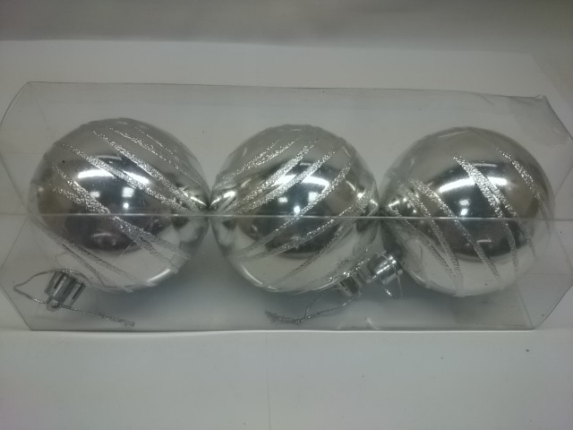 Новогодние шары, 7 см, цена за 3 штуки, серебро, пластик.