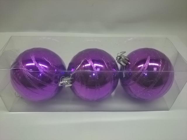 Новогодние шары, 7 см, цена за 3 штуки, фиолетовые, пластик.
