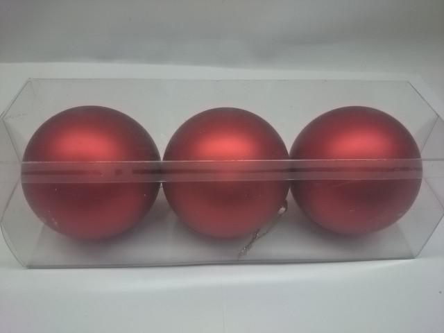 Новогодние шары, 7 см, цена за 3 штуки, красные, пластик.