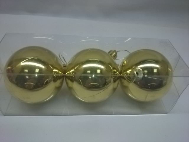 Новогодние шары, 6 см, цена за 3 штуки, золотые, пластик.