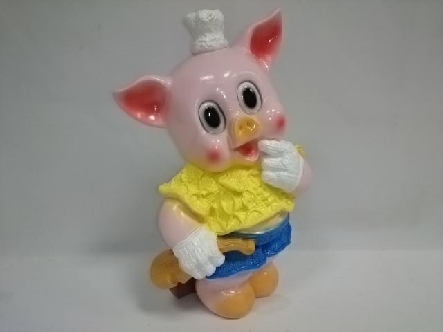 """Копилка """"Свинья со скрипкой"""" розовая 30 см., гипс"""