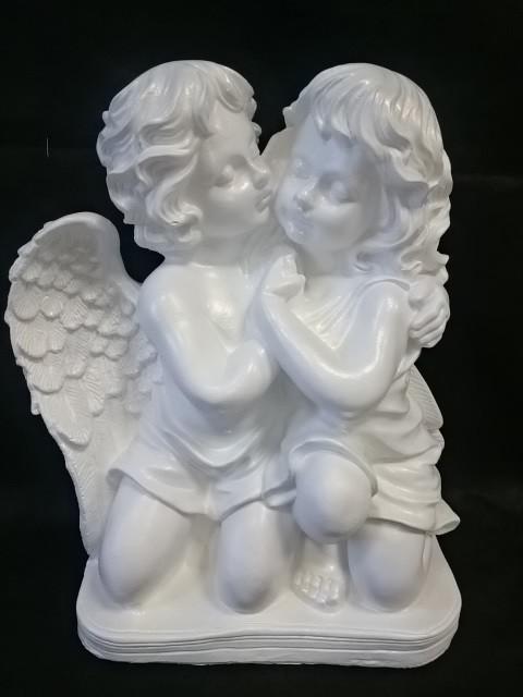 Сувенир Два Ангела больших, 43 х 32 см, белые перламутровые, гипс.