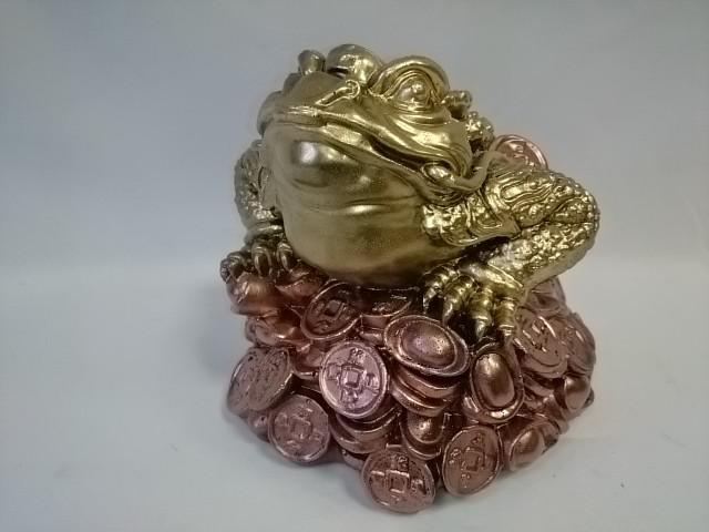 Копилка Жаба денежная, 19 х 18 см, золото с бронзой.