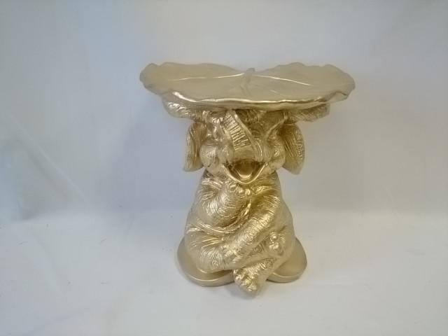 Слон с листком золотой, 28*29*29 см, гипс.