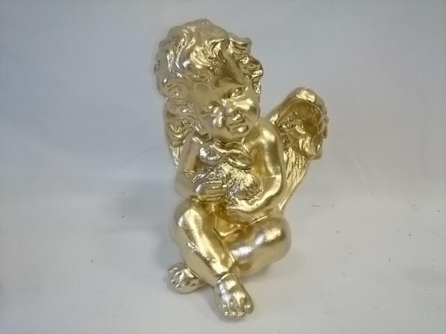 Сувенир Ангел с кроликом золото, 17 см, гипс.