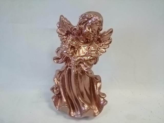 """Сувенир """"Ангел в платье с букетом"""", 24 см, бронза, гипс."""
