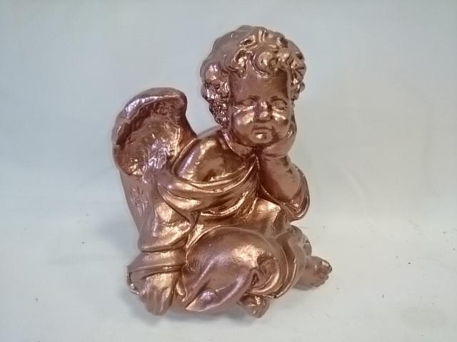 Сувенир Ангел сидя бронза, 17 см, гипс.