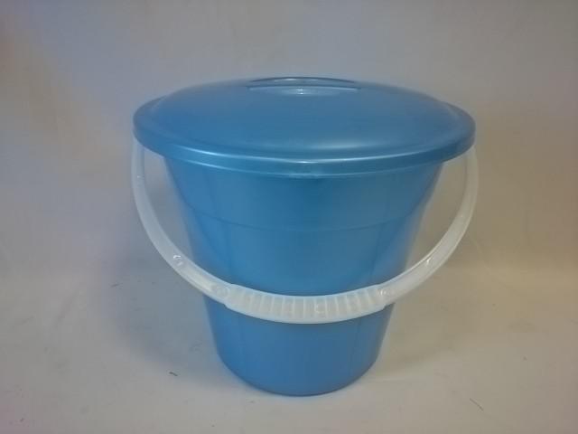 Ведро 6 литров евро пищевое с крышкой, цвет голубой.