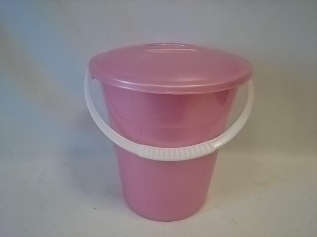 Ведро 8 литров евро пищевое с крышкой, цвет розовый.