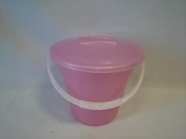 Ведро 3 литра евро пищевое с крышкой, цвет розовый.