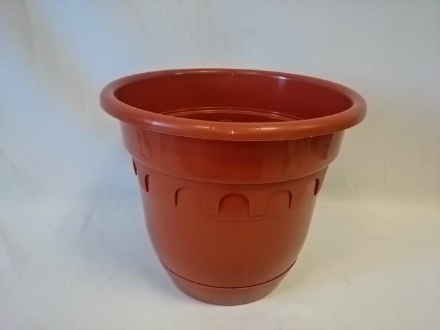 Горшок для цветов с поддоном 9 литров, цвет - коричневый.