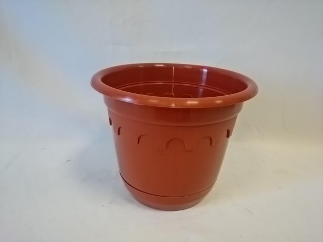 Горшок для цветов с поддоном коричневый 3 литра, пластик.