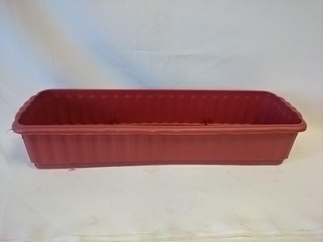 Ящик для цветов, 55*15*11 см, цвет - красный, без дренажной решётки.