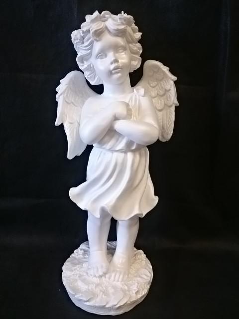Ангел с венком, цвет - белый, 50 см, гипс.