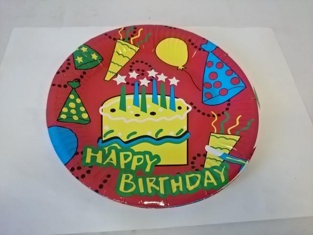 Тарелка бумажная, 18 см, 10 штук, День Рождения.